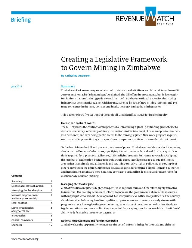 Briefing1www.revenuewatch.orgCreating a Legislative Frameworkto Govern Mining in ZimbabweBy Catherine AndersonSummaryZimba...