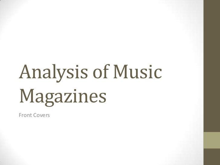Analysis of MusicMagazinesFront Covers
