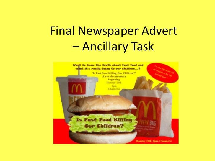 Final Newspaper Advert    – Ancillary Task