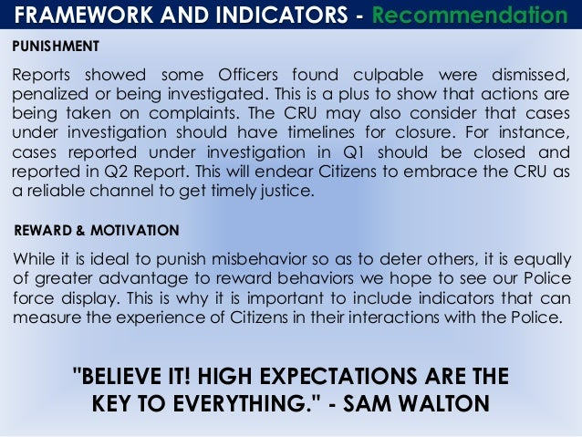 FRAMEWORK AND INDICATORS - Recommendation PUNISHMENT Reports showed some Officers found culpable were dismissed, penalized...