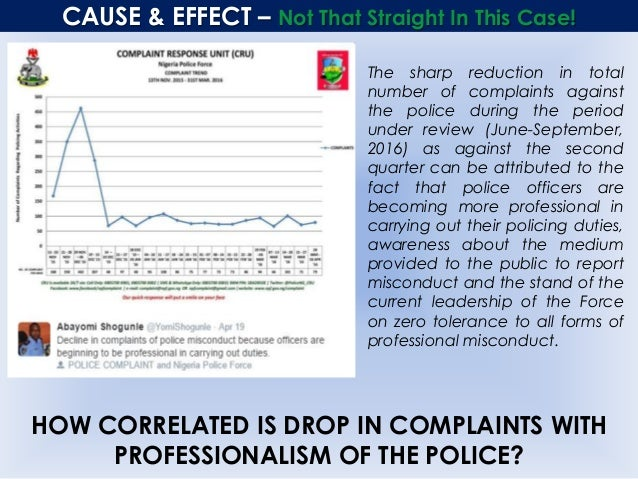 CAUSE & EFFECT – Not That Straight In This Case! The sharp reduction in total number of complaints against the police duri...