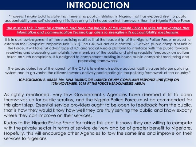 """INTRODUCTION """"Indeed, I make bold to state that there is no public institution in Nigeria that has exposed itself to publi..."""