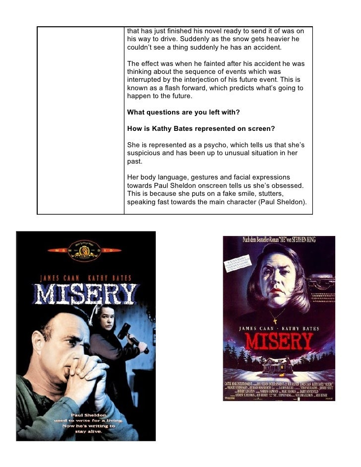 misery analysis Paul sheldon status alive activities occupation writer actor james caan paul sheldon is the main protagonist of misery he is the author of the misery chastain novel series, and is imprisoned by annie wilkes (his self-described &quotnumber one fan&quot) after a devastating car crash.