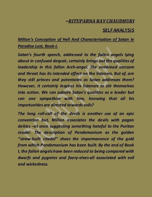 critical analysis paradise lost Essays and criticism on john milton's paradise lost - paradise lost,  critical essays analysis  in paradise lost is not only prior to that in paradise.