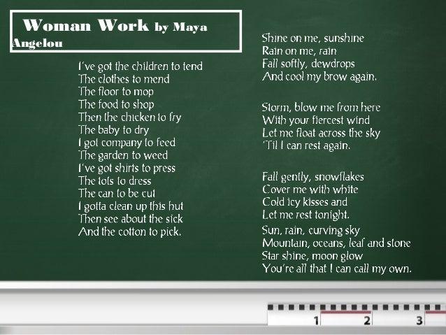 poems maya angelou woman work