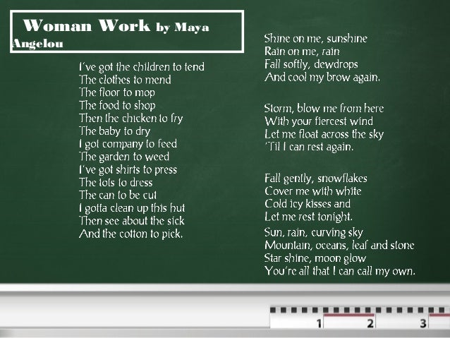 poem woman work by maya angelou questions answers