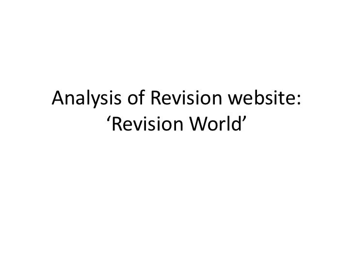 Analysis of Revision website:      'Revision World'