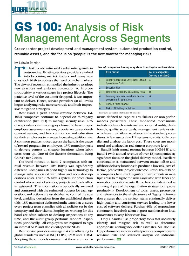 GS 100: Analysis of Risk Management Across Segments Cross-border project development and management system, automated prod...