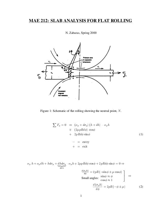 MAE 212: SLAB ANALYSIS FOR FLAT ROLLING N. Zabaras, Spring 2000  Figure 1: Schematic of flat rolling showing the neutral po...