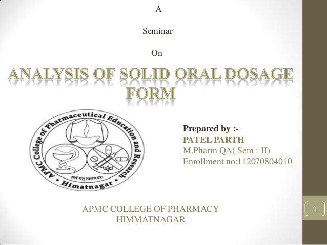 A          Seminar            On                    Prepared by :-                    PATEL PARTH                    M.Pha...