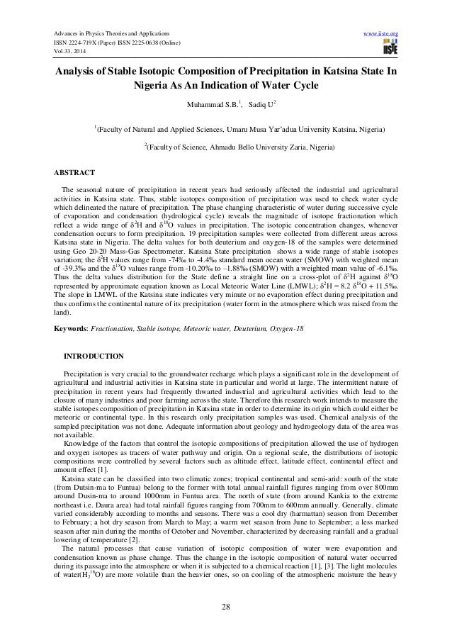 Advances in Physics Theories and Applications www.iiste.org ISSN 2224-719X (Paper) ISSN 2225-0638 (Online) Vol.33, 2014 28...