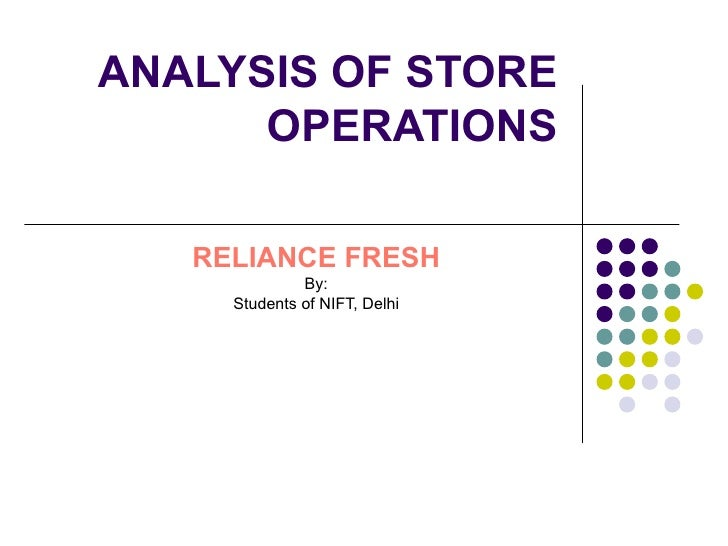 ANALYSIS OF STORE OPERATIONS   RELIANCE FRESH By: Students of NIFT, Delhi