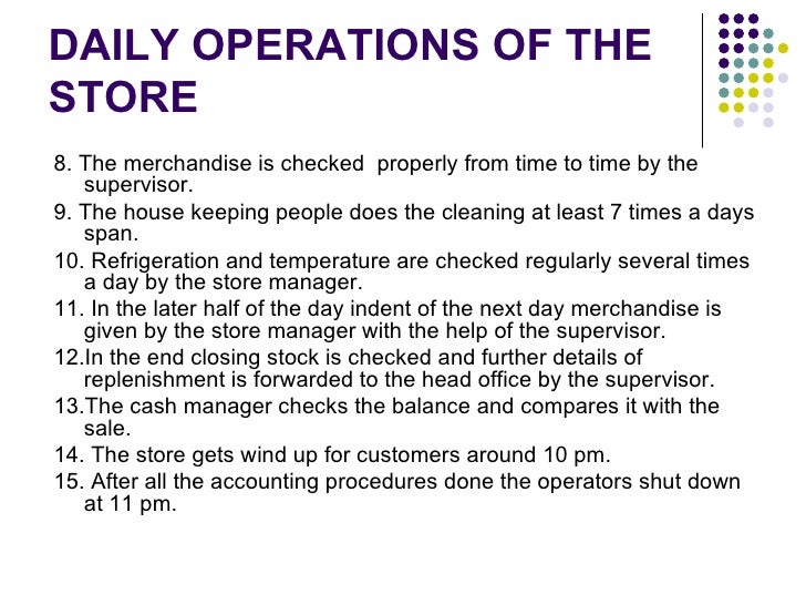 analysis of store operations rh slideshare net Customer Service Operations Manual Sample Customer Service Operations Manual Sample