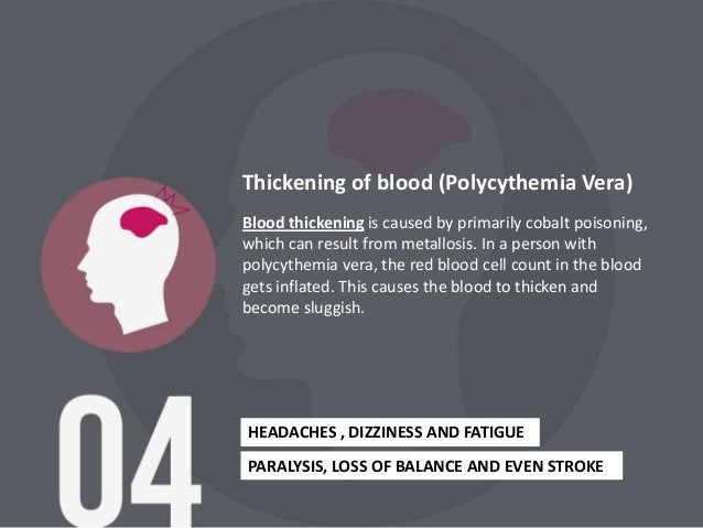 Blood thickening is caused by primarily cobalt poisoning,which can result from metallosis. In a person withpolycythemia ve...