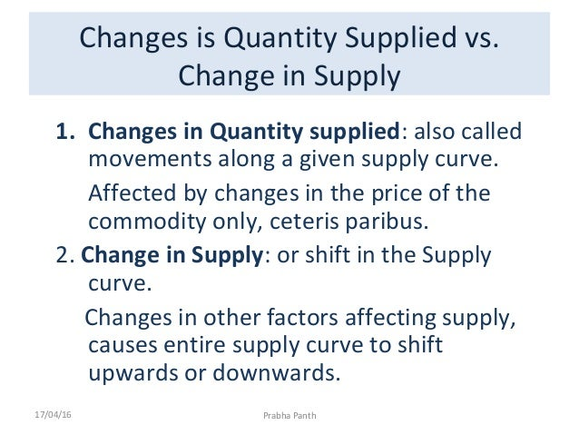 a change in quantity supplied is shown by
