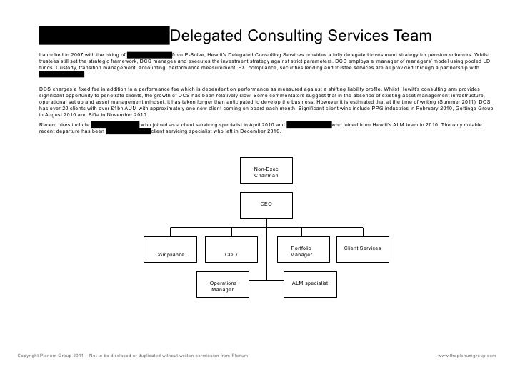 PLENUM GROUPDelegated Consulting Services Team         Launched in 2007 with the hiring of PLENUM GROUPfrom P-Solve, Hewit...