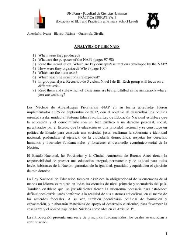 UNLPam – Facultad de CienciasHumanas PRÁCTICA EDUCATIVA II (Didactics of ELT and Practicum at Primary School Level) Avenda...