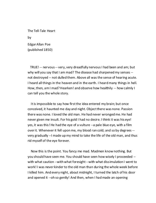 Literary Analysis Of ' The Tell Tale Heart '