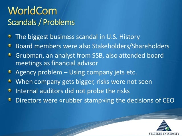 stakeholders of worldcom scandal The stakeholder theorists smell blood scandals at enron, global crossing, imclone, tyco international and worldcom, concerns about the independence of accountants who are charged with auditing financial statements, and questions about the incentive schema and investor recommendations at credit.