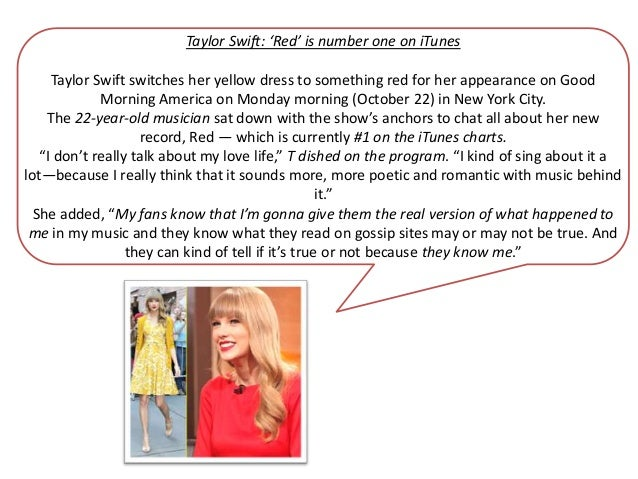 Taylor Swift: 'Red' is number one on iTunes     Taylor Swift switches her yellow dress to something red for her appearance...