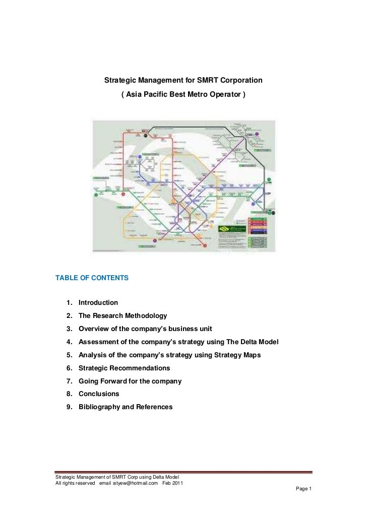 Analysis on the strategic management of smrt corp using delta model
