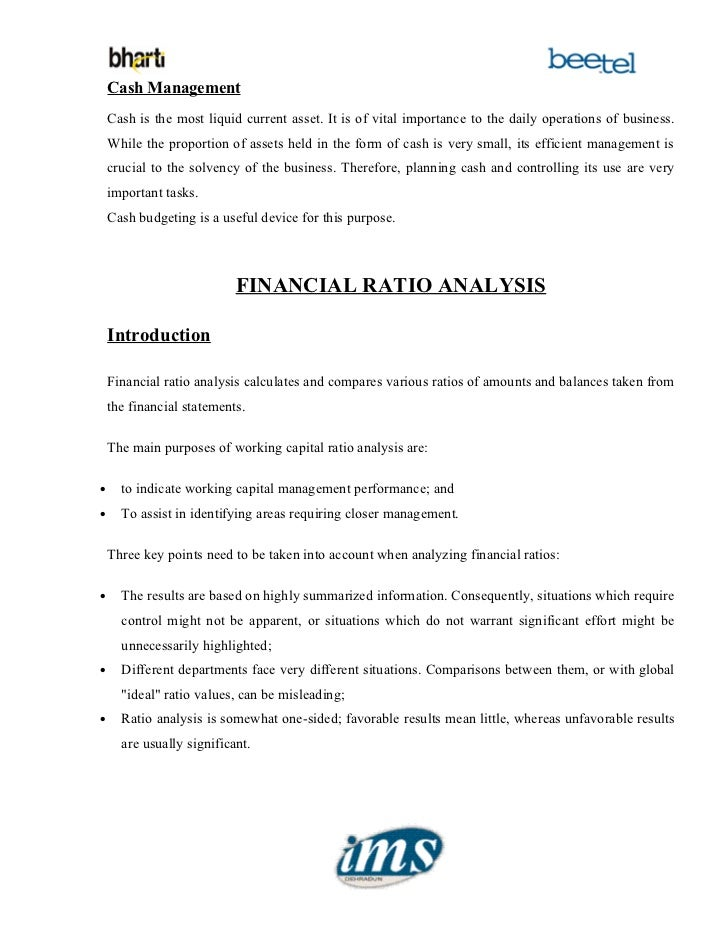 an analysis on working capital management A project report on working capital management and ratio analysis at the solaris chemtech limited by babasab patil ( karisatte)pdf (2320k) babasab patil.