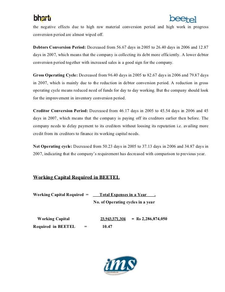 Analysis on working capital management for bharti teletech ltd