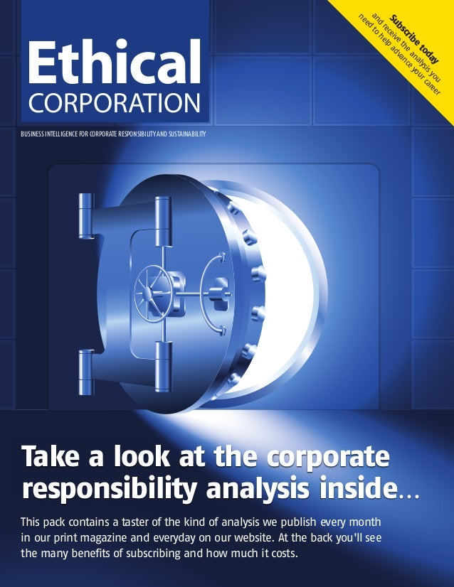 BUSINESS INTELLIGENCE FOR CORPORATE RESPONSIBILITYAND SUSTAINABILITYTake a look at the corporateresponsibility analysis in...