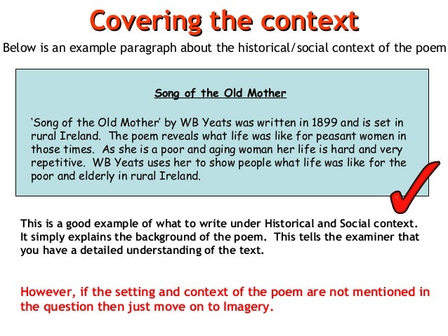 Poem analysis for Context analysis template