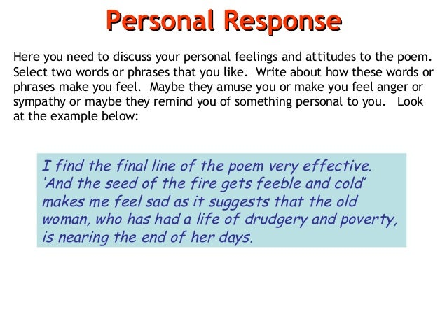 personal response essay questions How to write a reader response on in your response, the answer to that question should personal stories as the response essay does.