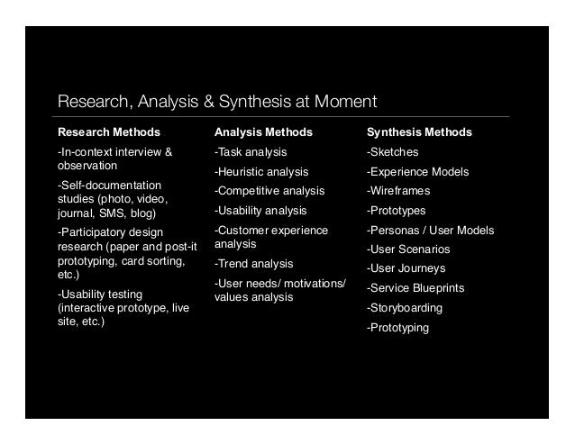 p10Research, Analysis & Synthesis at MomentResearch Methods-In-context interview &observation-Self-documentationstudies ...