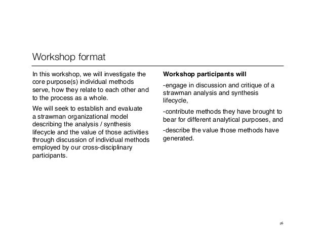 p5Workshop format In this workshop, we will investigate thecore purpose(s) individual methodsserve, how they relate to eac...