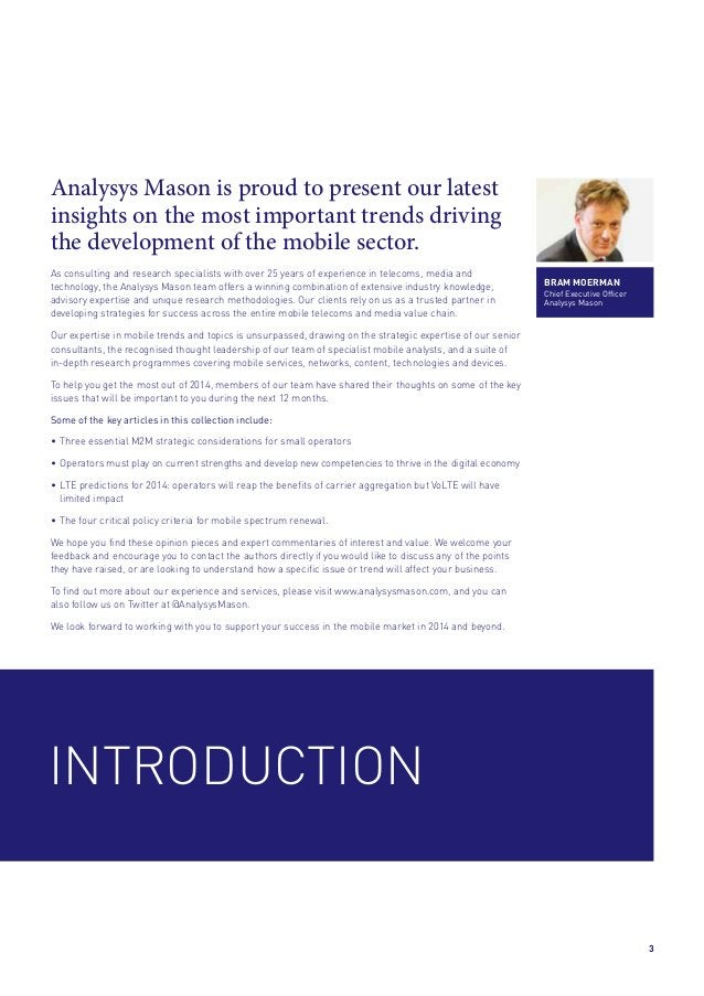 Analysys Mason is proud to present our latest insights on the most important trends driving the development of the mobile ...