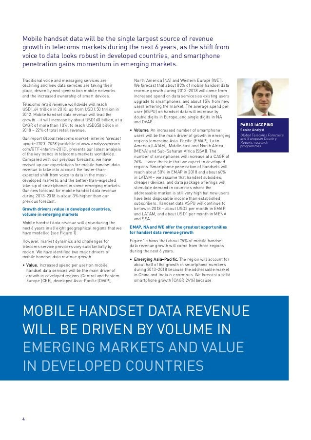 Mobile handset data will be the single largest source of revenue growth in telecoms markets during the next 6 years, as th...