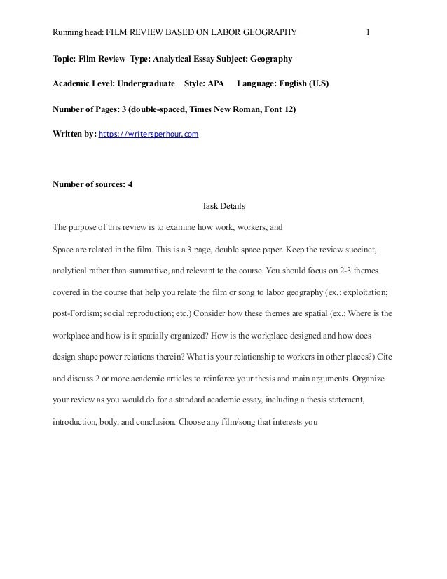 film review based on labor geography 2 3 - English Essay Examples