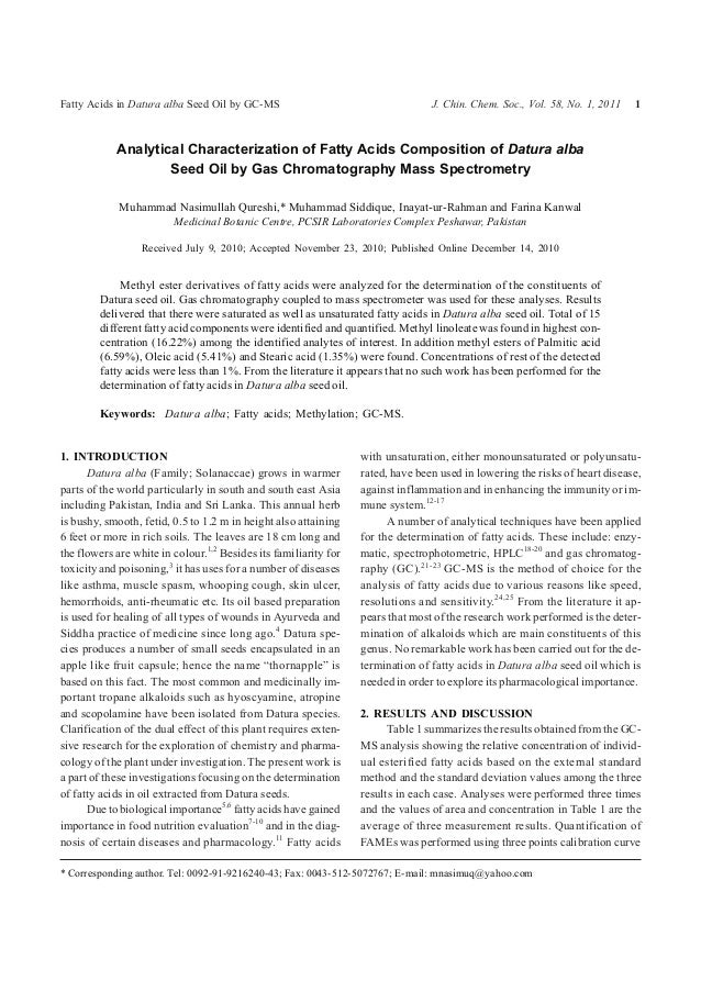 analytical characterization of fatty acids In this study, we propose a simple and rapid technique for characterization of free fatty acids and triacylglycerides (tag) based on palladium nanoparticular (pd-np) surface-assisted laser desorption/ionization (saldi) mass spectrometry (ms.