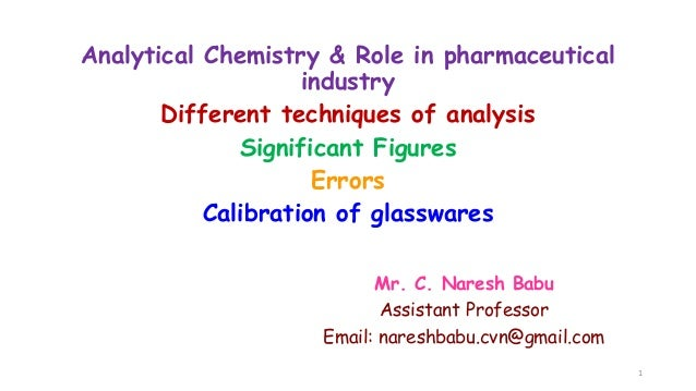 Analytical Chemistry & Role in pharmaceutical industry Different techniques of analysis Significant Figures Errors Calibra...