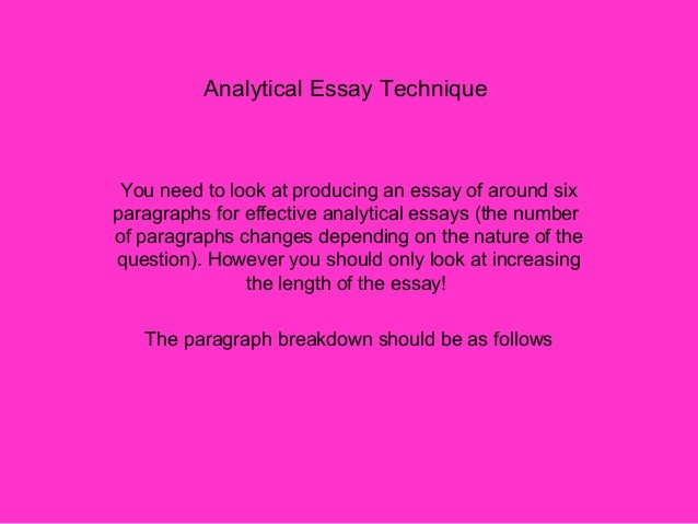 analystical essay Tips for your analytical essay 1 your essay must address and respond to the assignment description most students fail or get low grades because they fail to read the entire assignment, including the grading criteria.