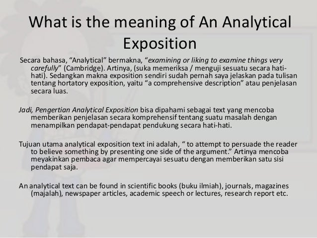 contoh analytical exposition beserta thesis argument dan reiteration