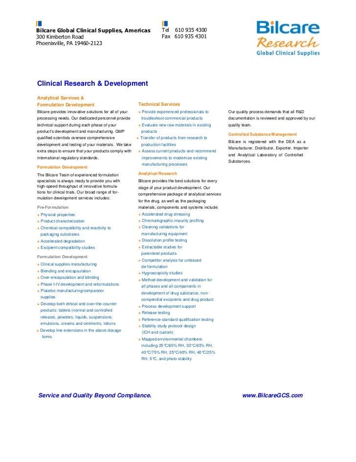 Bilcare Global Clinical Supplies, Americas                            Tel 610 935 4300 300 Kimberton Road                 ...