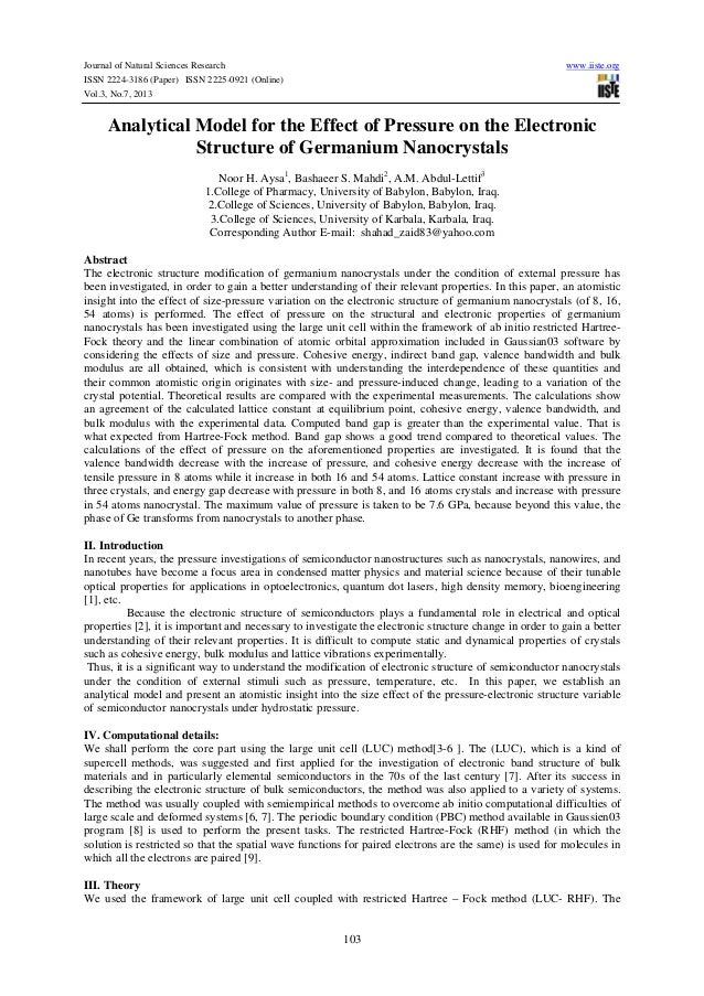 Journal of Natural Sciences Research www.iiste.org ISSN 2224-3186 (Paper) ISSN 2225-0921 (Online) Vol.3, No.7, 2013 103 An...