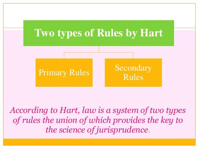 Two types of Rules by Hart Primary Rules Secondary Rules According to Hart, law is a system of two types of rules the unio...