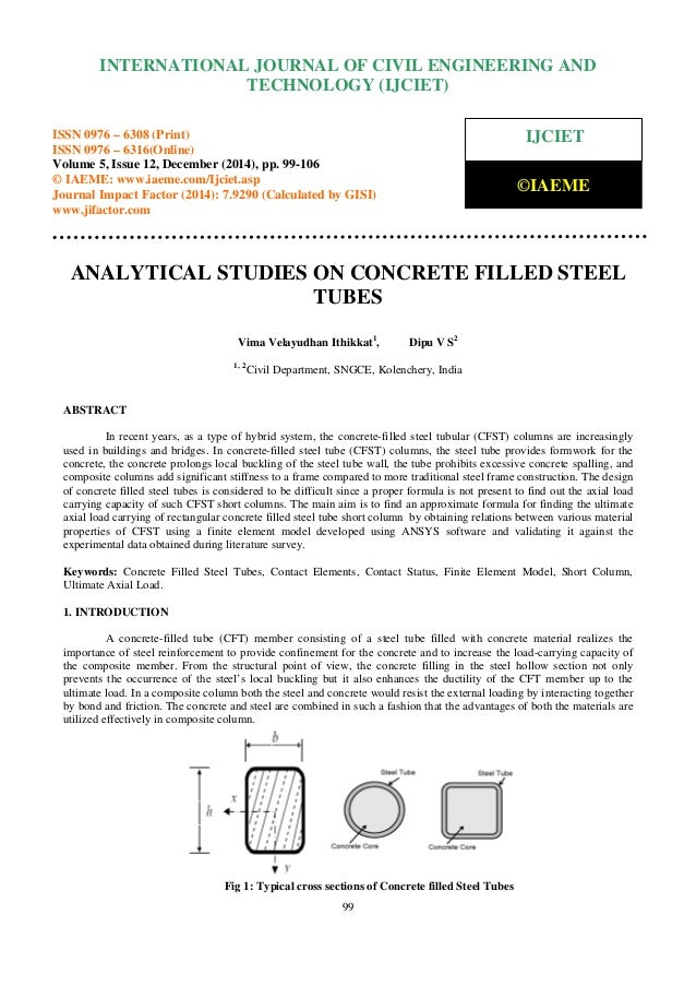 Analytical studies on concrete filled steel tubes