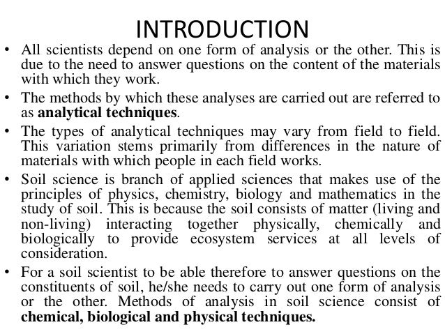 Analytical techniques in soil science ppt for Full form of soil