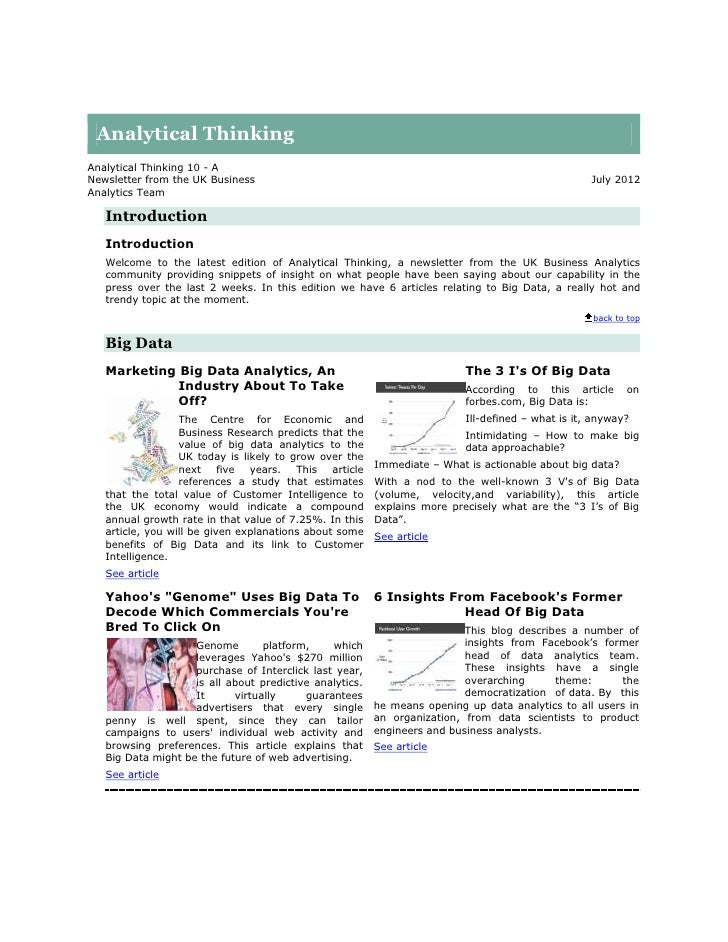 Analytical ThinkingAnalytical Thinking 10 - ANewsletter from the UK Business                                              ...