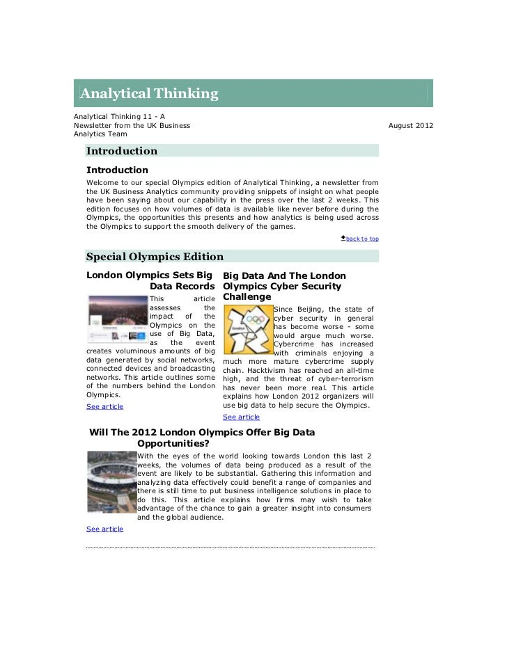 Analytical ThinkingAnalytical Thinking 11 - ANewsletter from the UK Business                                              ...