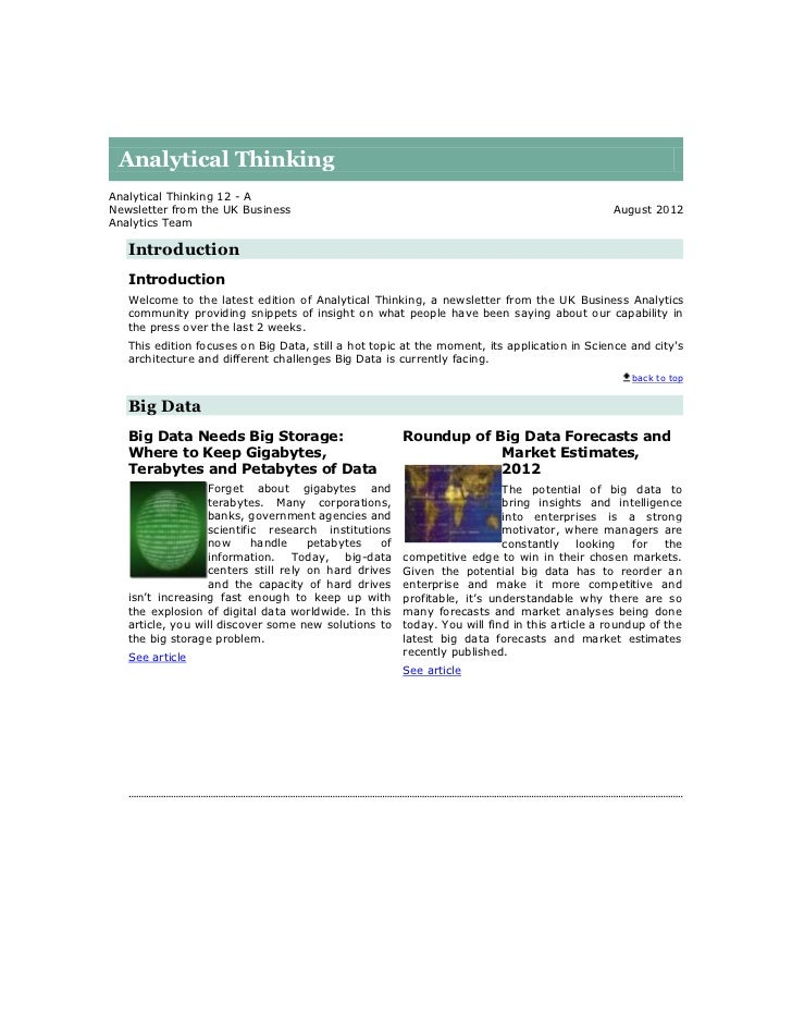 Analytical ThinkingAnalytical Thinking 12 - ANewsletter from the UK Business                                              ...