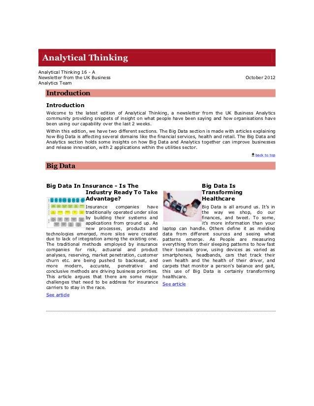Analytical ThinkingAnalytical Thinking 16 - ANewsletter from the UK Business                                              ...