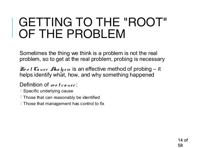 """GETTING TO THE """"ROOT"""" OF THE PROBLEM Sometimes the thing we think is a problem is not the real problem, so to get at the r..."""