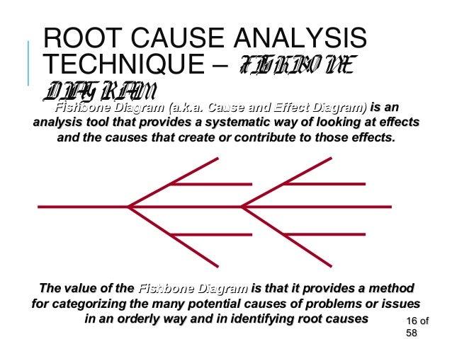 ROOT CAUSE ANALYSIS TECHNIQUE – FISHBONE DIAGRAM 1616 ofof 5858 The value of theThe value of the Fishbone DiagramFishbone ...